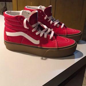 NWOT mens red Vans hi top shoes size 8 mens